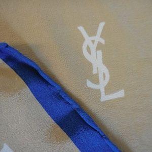 "Yves Saint Laurent Accessories - VTG~YVES SAINT LAURENT~""YSL"" Logos 100% Silk Scarf"